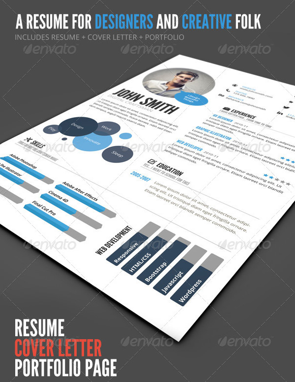 InfoGraphic Style Resume Temp PSD
