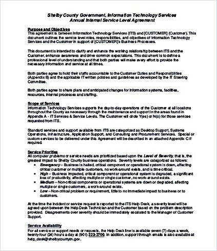 Internal Service Level Agreement Template