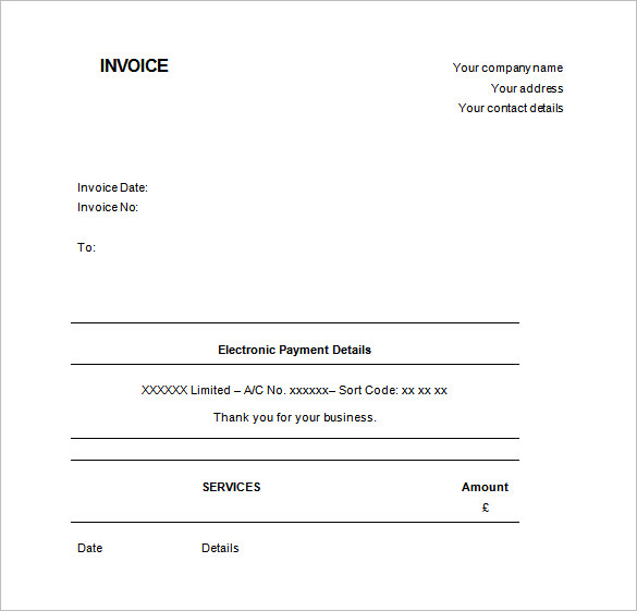 Invoice Template UK