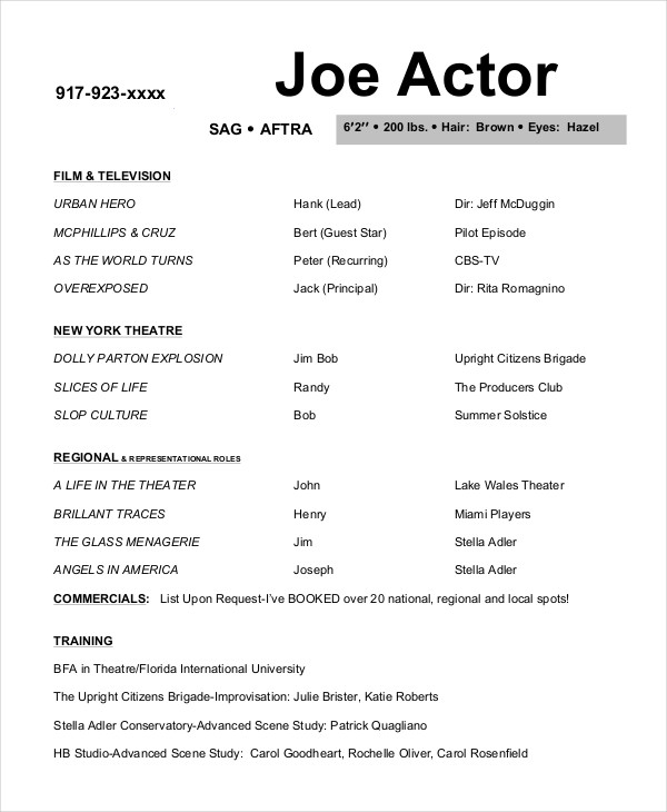actor resume template sample - Free Actor Resume Template