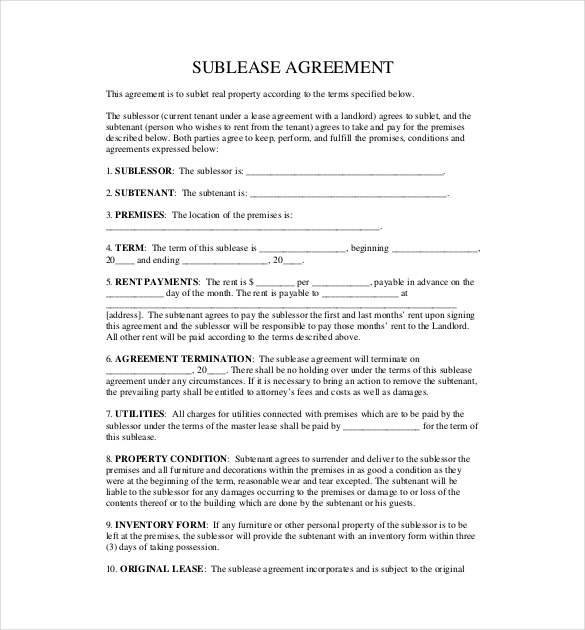 10 useful sublease agreement template for house and apartment for Landlords contract template