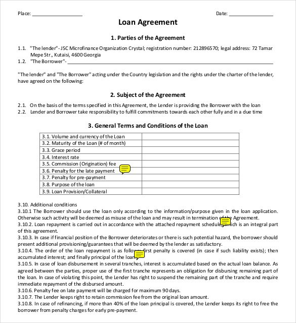 26 Great Loan Agreement Template