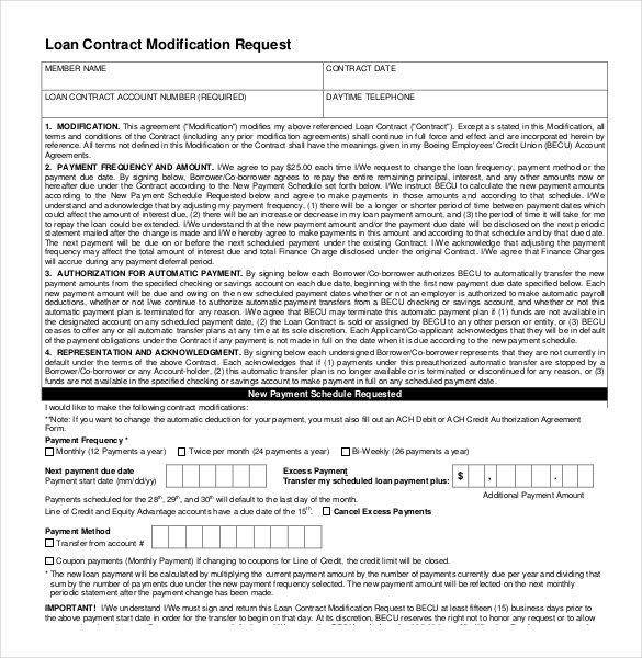 Loan Contract Modification Request