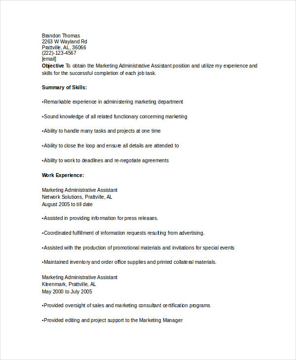 Marketing Administrative Assistant Resume