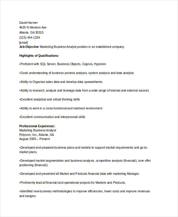Marketing Business Analyst Resume
