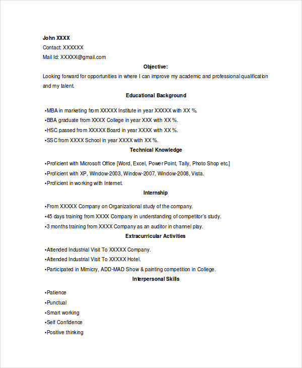 Marketing College Student Resume