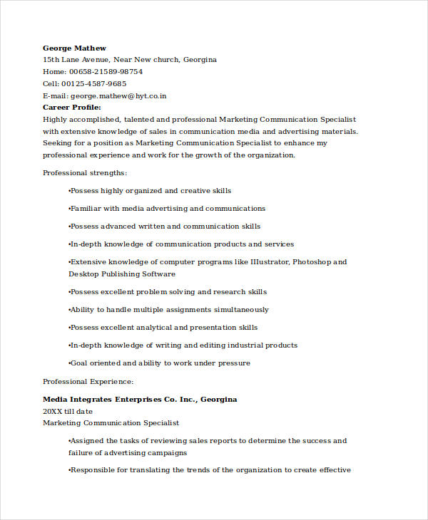 Marketing Communications Specialist Resume