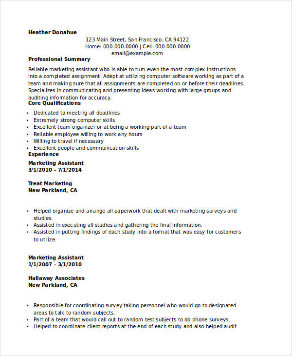 Marketing Executive Assistant Resume