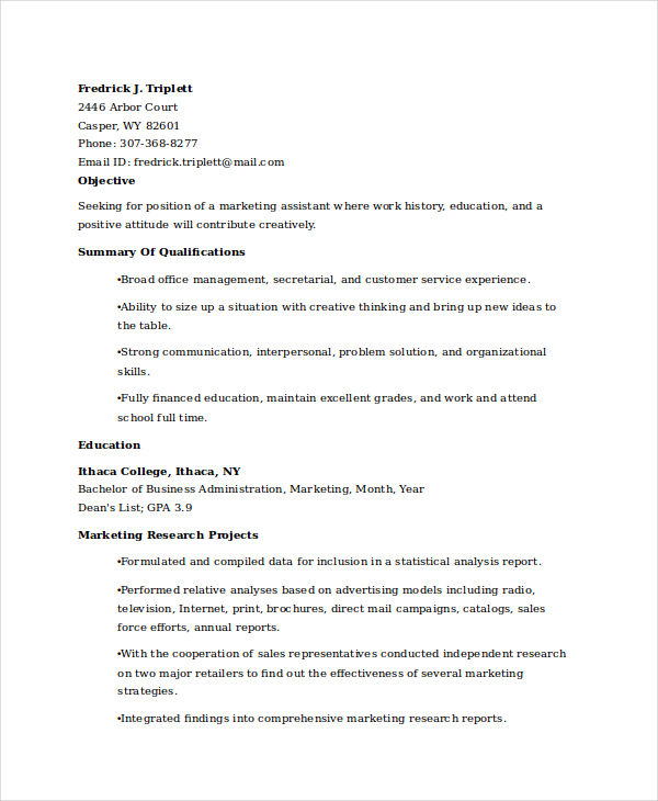 Marketing Graduate Student Resume