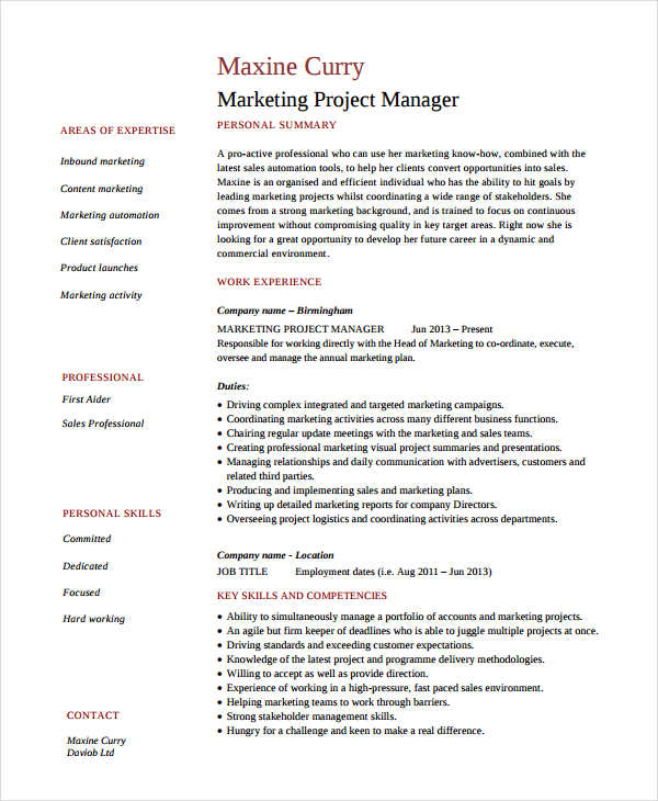 Marketing resume samples for successful job hunters for Cv template for marketing job