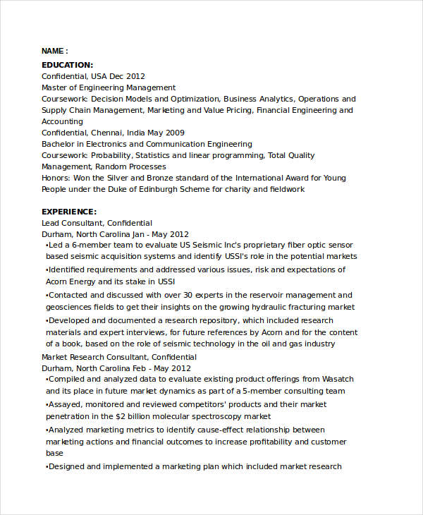 Marketing Research Consultant Resume