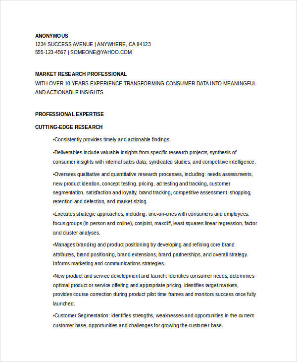 market research sle resume 28 images director market