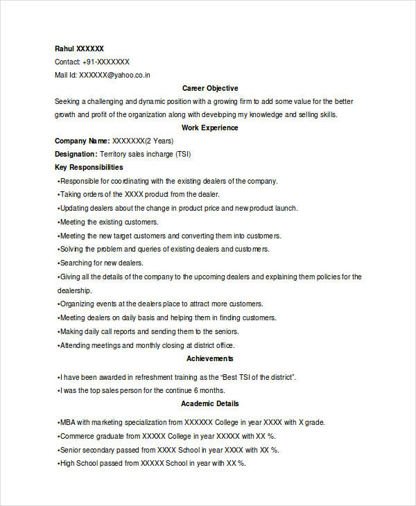 Marketing Sales Officer Resume