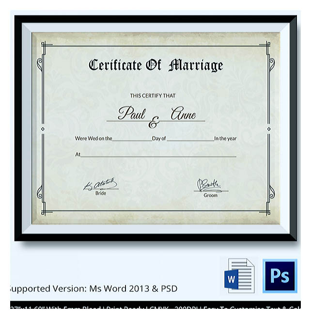 Download certificate of marriage template image collections designing using marriage certificate template for your own certificate once youre done filling out the certificate yadclub Image collections