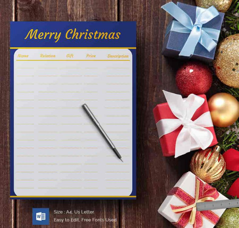 Merry Christmas Gift List Template 788x753