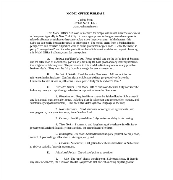 Model Office Sublease Agreement