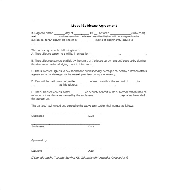 Apartment Sublease Template Vaydileforic