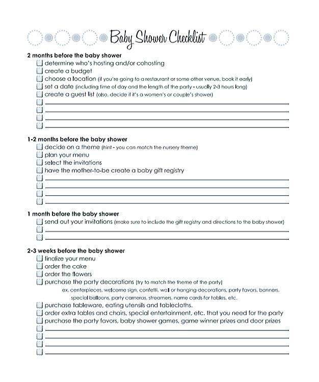 Months Baby Shower Checklist Template Printable