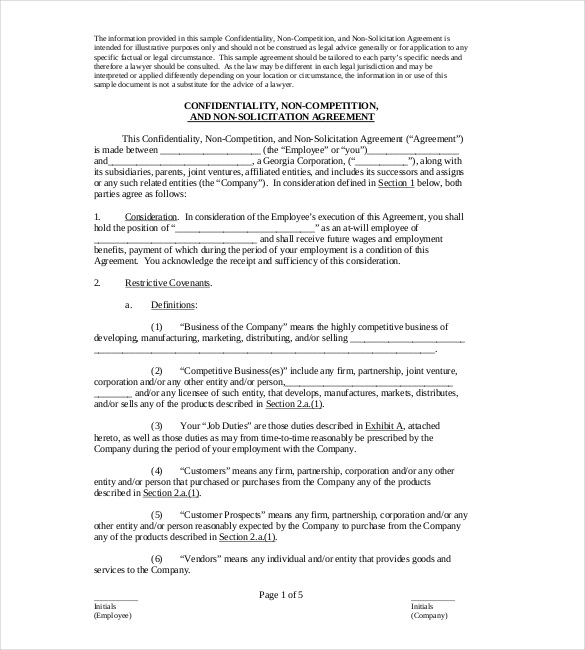 Non Compete Agreement Sample Format