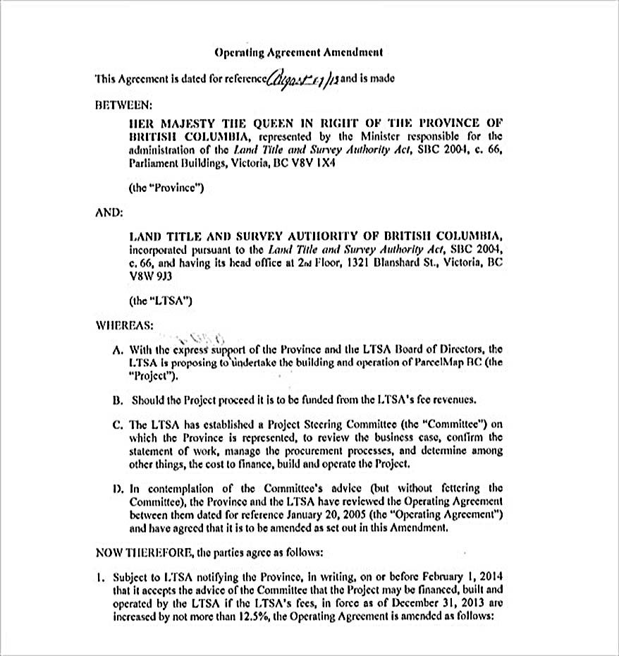 Operating Agreement Amendment
