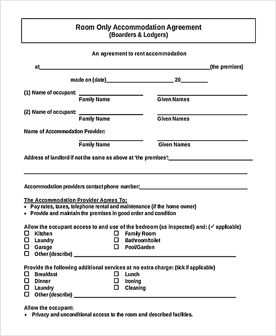 9 room rental agreement template for Renting contract template