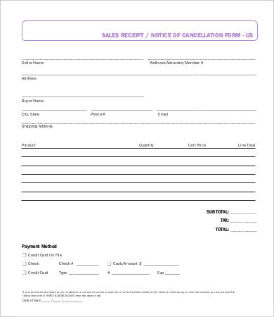 Personal Sales Receipt Template