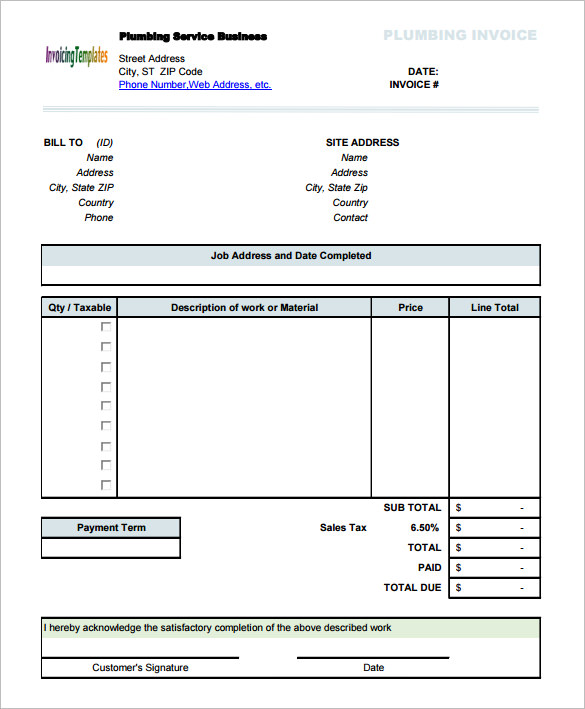 Plumbing Service Invoice Template with Sales Tax