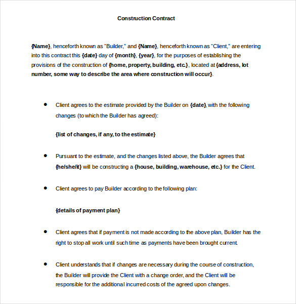 Printable Construction Contract Templat Word Format