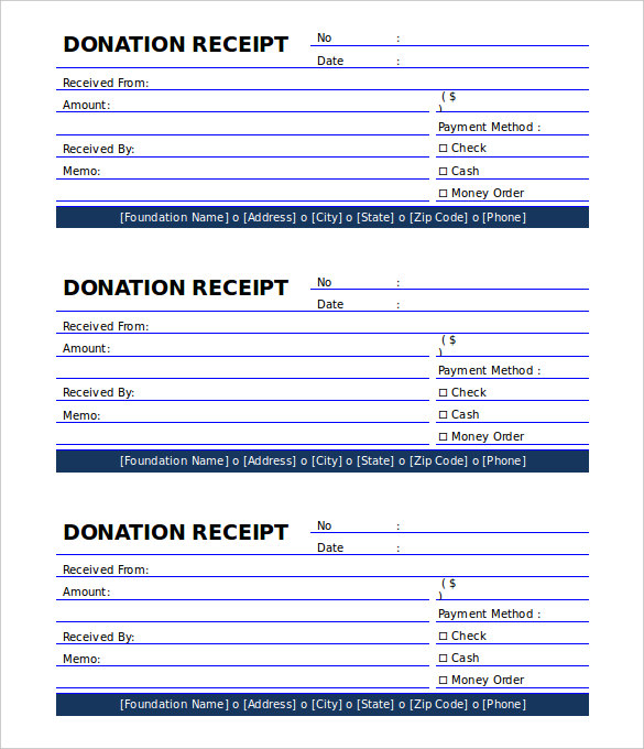 Printable Donation Receipt Template Free