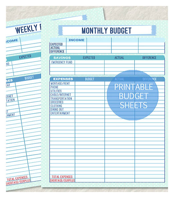 Printable Monthly and Weekly Budget Sheet