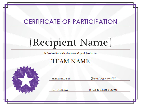 Printable Participant Certificate Template  Certificate Template For Word