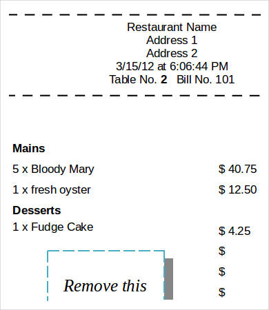 Printable Restaurant Sales ReceiptPrintable Restaurant Sales Receipt
