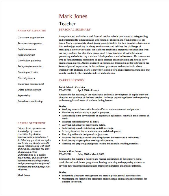 35 Sample Cv Templates Pdf Doc: How To Make A Good Teacher Resume Template