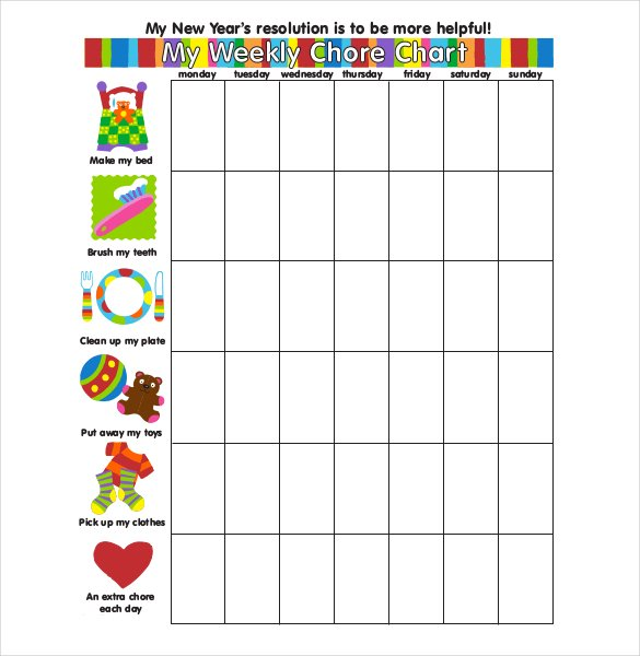 Printable Weekly Chore Chart Template