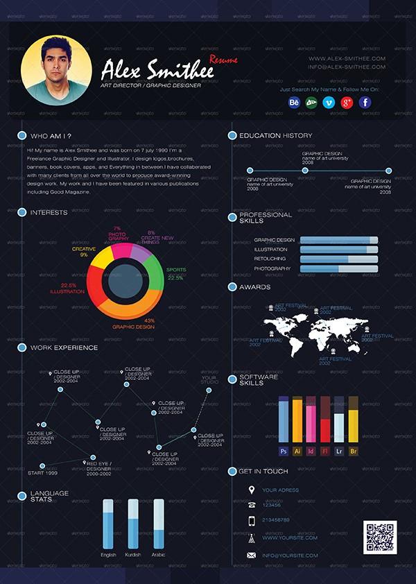Pro_InfoGraphic_Resume_Dark Blue