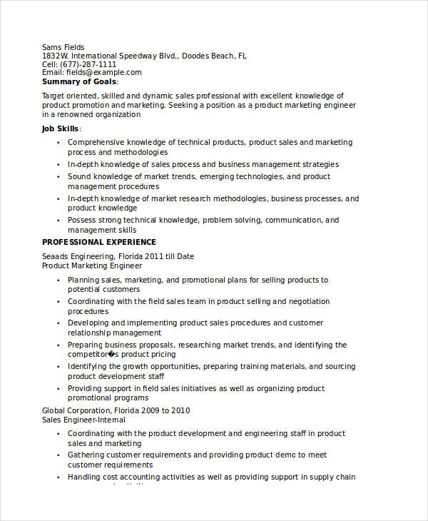 Product Marketing Engineer Resume