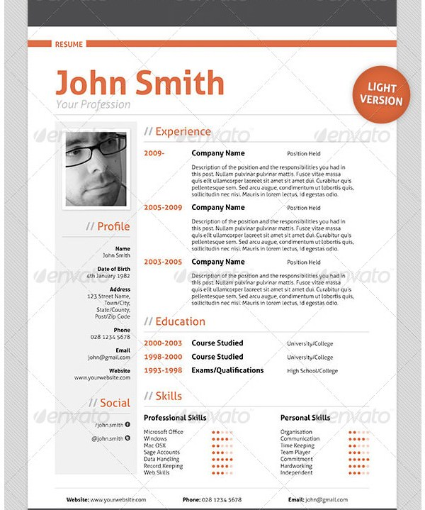 Professional Cv Resume Templates: Great For More Professional Yet