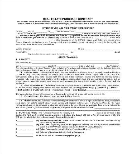 REAL ESTATE PURCHASE CONTRACT Format