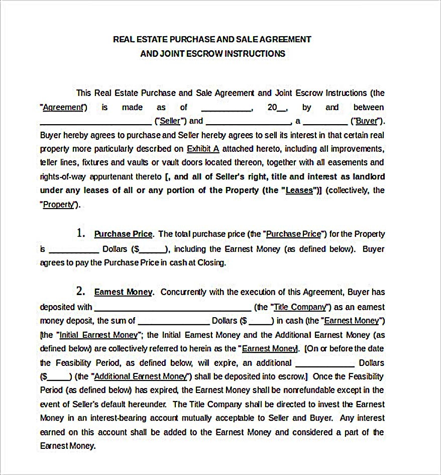 Real Estate Purchase Sale Agreement Document