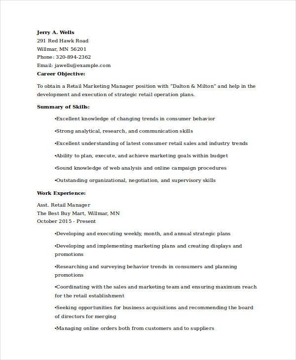 Retail Marketing Experience Resume