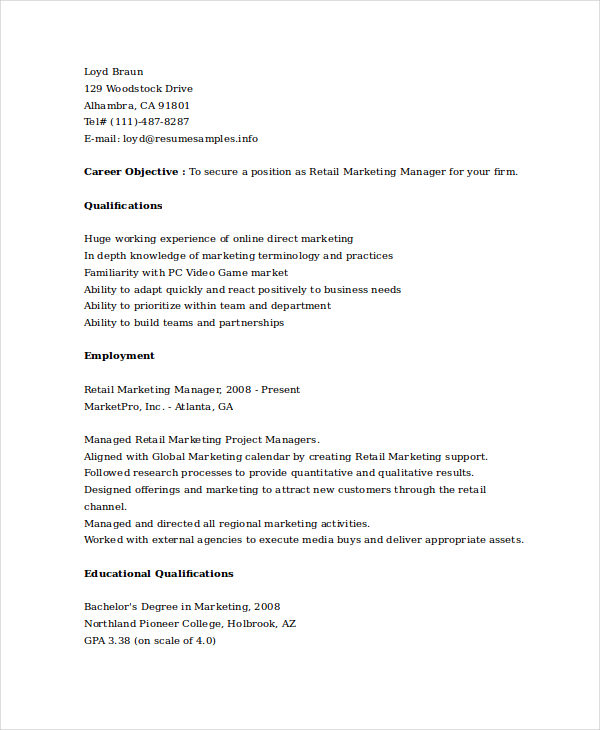 Retail Marketing Manager Resume