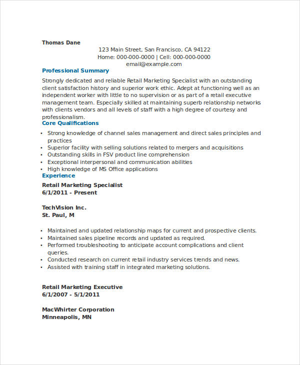 Retail Marketing Specialist Resume
