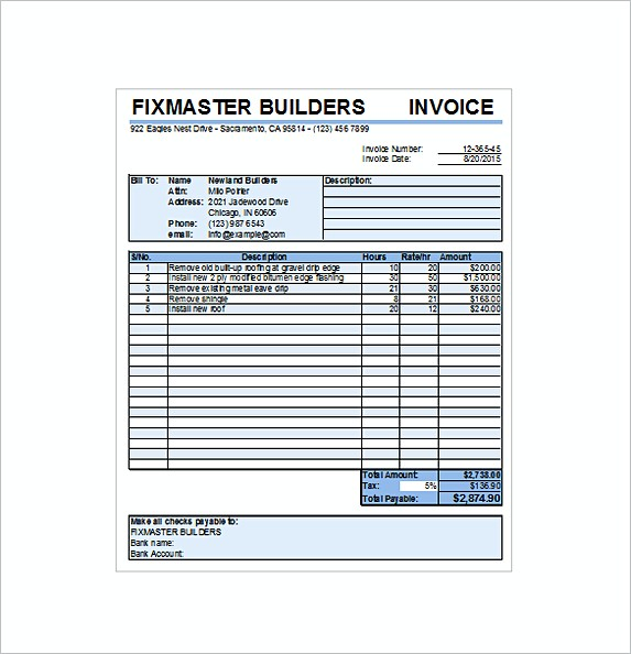 Roofing Contract Receipt Excel Free