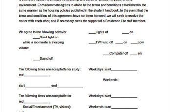 Roommate Agreement Worksheet Document