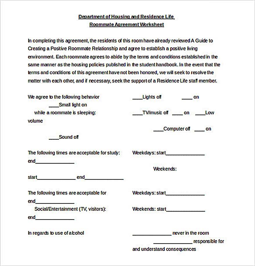 Roommate Agreement Worksheet Document
