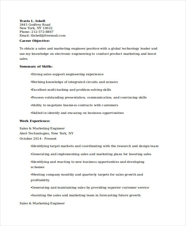 Sales Marketing Engineer Resume