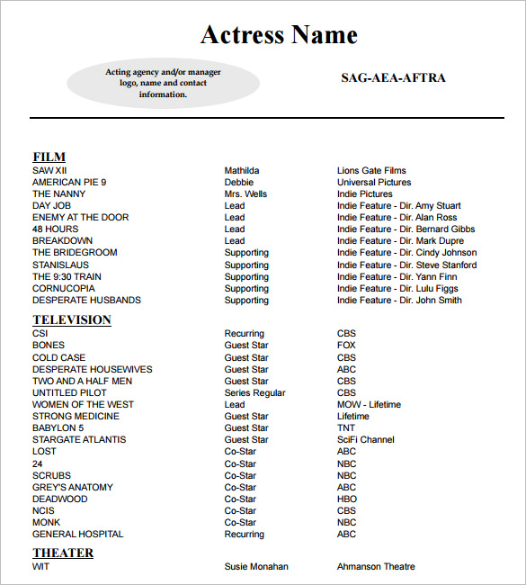 Sample Acting Resume Template