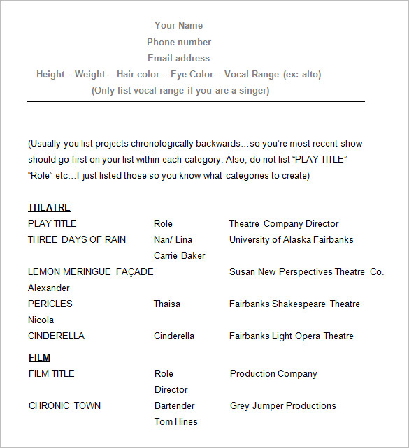 Example actor resume