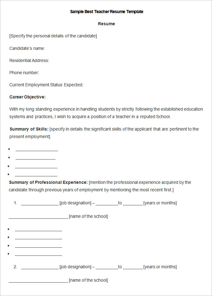 sample resume for teacher applicant Pertamini