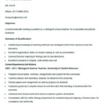 Sample Biological Science Teacher Resume Template